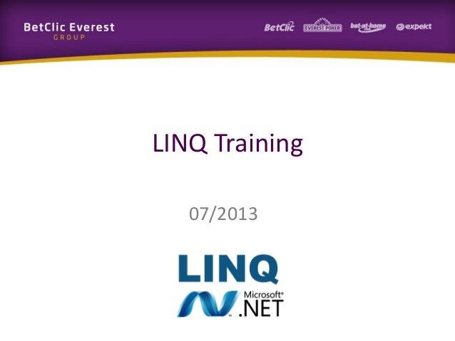 LINQ Training 07/2013