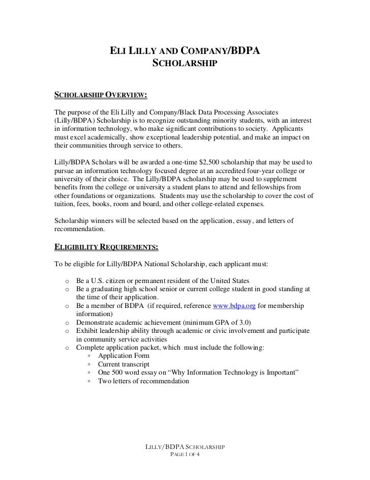 ELI LILLY AND COMPANY/BDPA                           SCHOLARSHIPSCHOLARSHIP OVERVIEW:The purpose of the Eli Lilly and Comp...