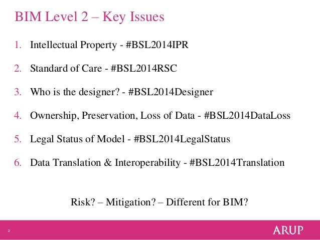 2 BIM Level 2 – Key Issues 1. Intellectual Property - #BSL2014IPR 2. Standard of Care - #BSL2014RSC 3. Who is the designer...