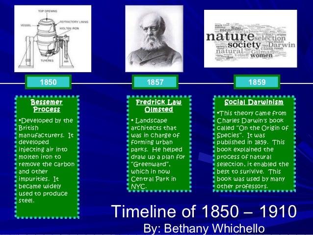 1850                  1857                      1859   Bessemer             Fredrick Law          Social Darwinism    Proc...