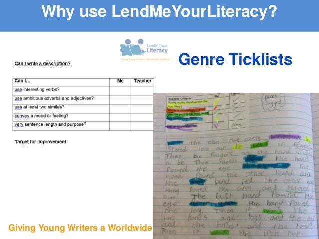 Giving Young Writers a Worldwide Audience Genre Ticklists Why use LendMeYourLiteracy?