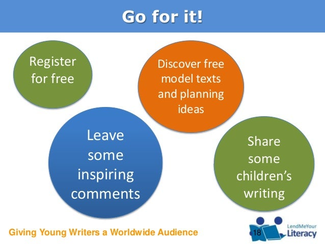 Giving Young Writers a Worldwide Audience Go for it! 18 Share some children's writing Register for free Leave some inspiri...