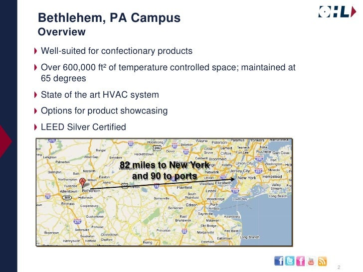 Bethlehem, PA CampusOverview<br />Well-suited for confectionary products<br />Over 600,000 ft² of temperature controlled s...