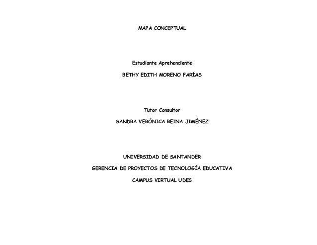 MAPA CONCEPTUAL Estudiante Aprehendiente BETHY EDITH MORENO FARÍAS Tutor Consultor SANDRA VERÓNICA REINA JIMÉNEZ UNIVERSID...