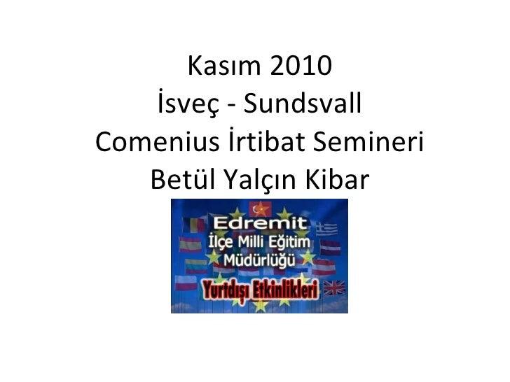 Kasım 2010 İsveç - Sundsvall Comenius İrtibat Semineri Betül Yalçın Kibar