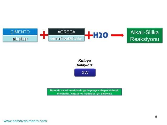 9  ÇİMENTO AGREGA  aallkkaalliilleerr aammoorrff//rreeaakkttiiff ssiilliiss  XW  Alkali-Silika  Reaksiyonu  Kutuya  tıklay...