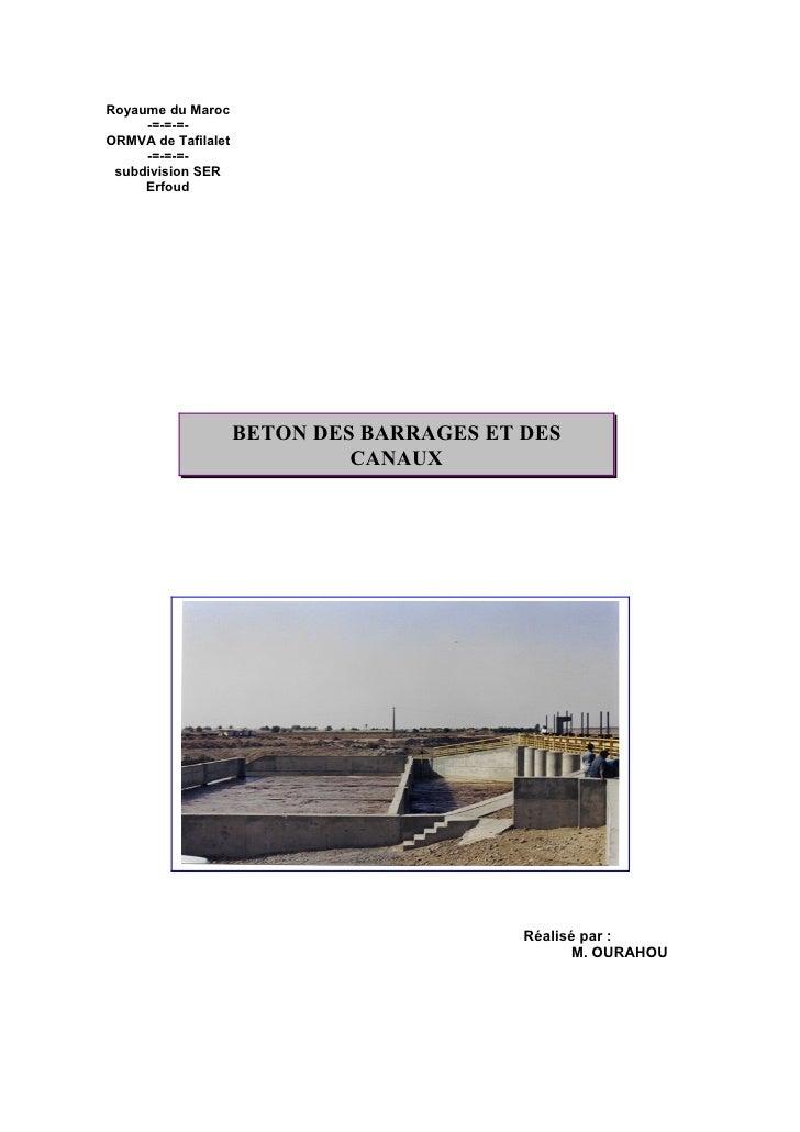 Royaume du Maroc      -=-=-=- ORMVA de Tafilalet      -=-=-=-  subdivision SER      Erfoud                          BETON ...