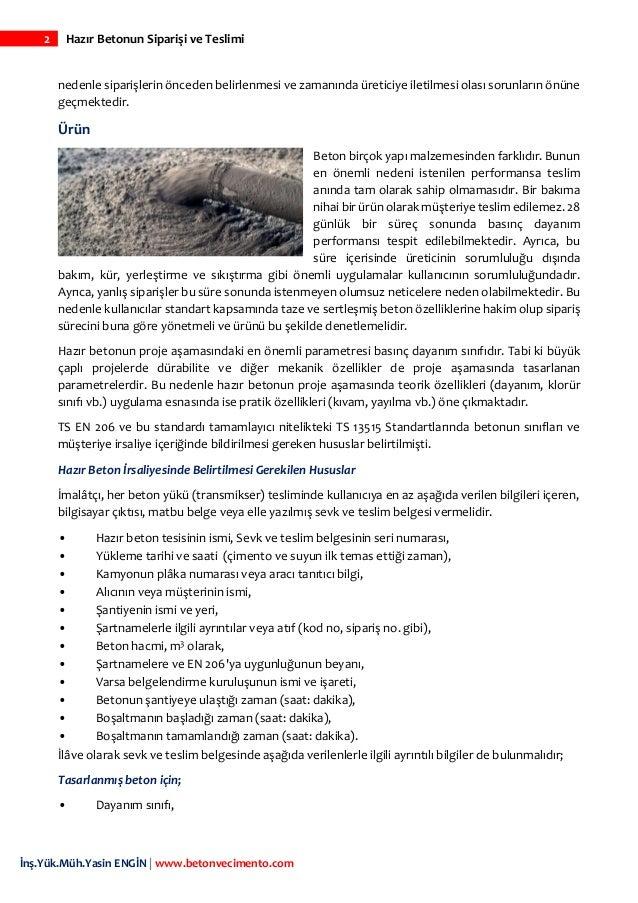 Hazır betonun siparişi ve teslimi Slide 3
