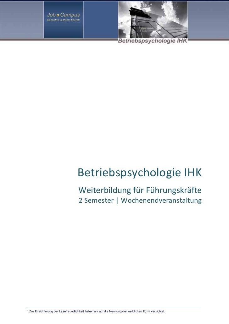 BetriebspsychologieIHK                                     Weiterbildun...