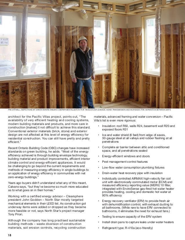 """architect for the Pacific Villas project, points out, """"The availability of very efficient heating and cooling systems, mod..."""