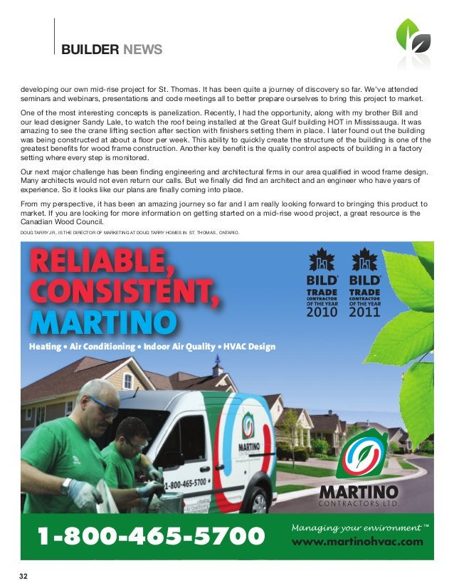 BUILDER NEWS 32 Reliable, Consistent, MaRtinoHeating • air Conditioning • indoor air Quality • HVaC Design www.martinohvac...