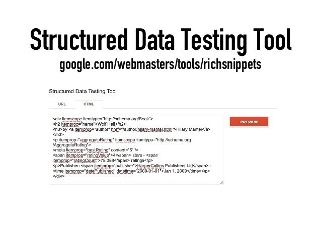 Structured Data Testing Tool google.com/webmasters/tools/richsnippets