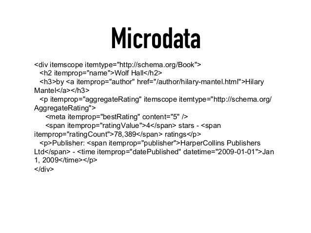 """Microdata <div itemscope itemtype=""""http://schema.org/Book""""> <h2 itemprop=""""name"""">Wolf Hall</h2> <h3>by <a itemprop=""""author""""..."""