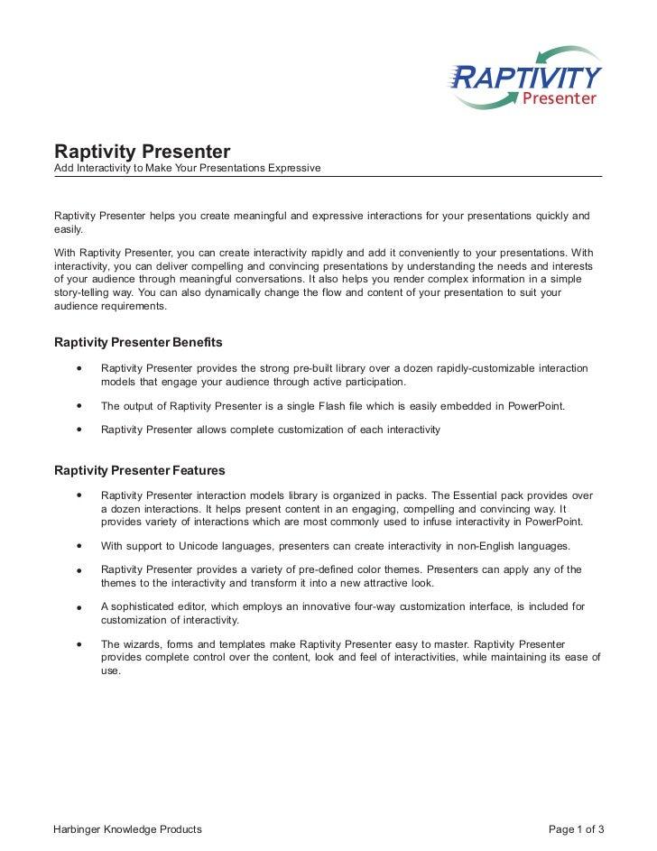 PresenterRaptivity PresenterAdd Interactivity to Make Your Presentations ExpressiveRaptivity Presenter helps you create me...