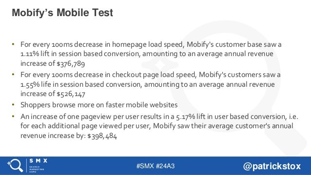 #SMX #24A3 @patrickstox • For every 100ms decrease in homepage load speed, Mobify's customer base saw a 1.11% lift in sess...