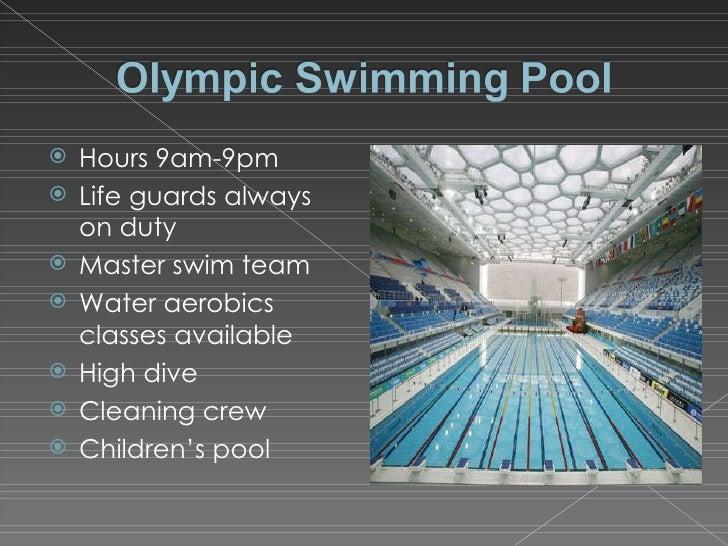 <ul><li>Hours 9am-9pm </li></ul><ul><li>Life guards always on duty </li></ul><ul><li>Master swim team </li></ul><ul><li>Wa...