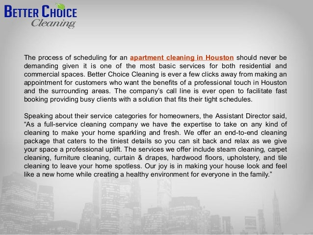 Better choice cleaning provides apartment and janitorial ...
