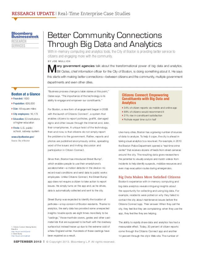 RESEARCH UPDATE | Real-Time Enterprise Case Studies  Better Community Connections Through Big Data and Analytics With in-m...