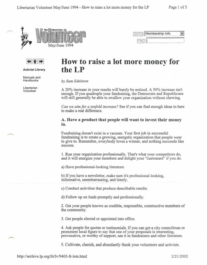 Libertarian Volunteer May/June 1994 - How to raise a lot more money for the LP                     Page I of 5            ...
