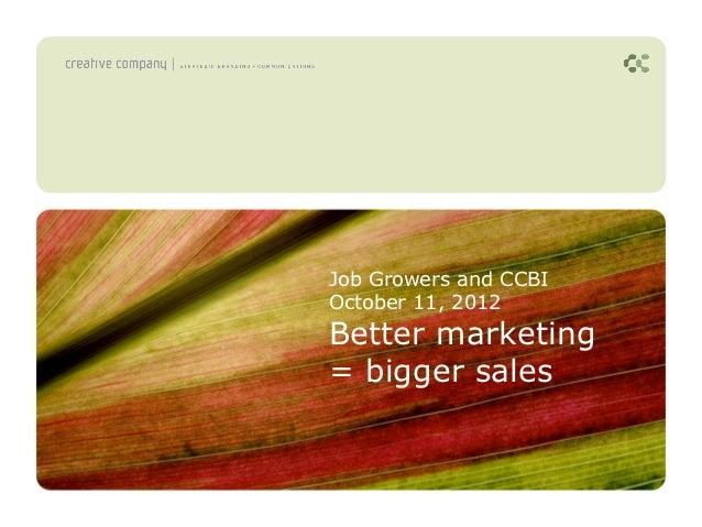 Job Growers and CCBIOctober 11, 2012Better marketing= bigger sales