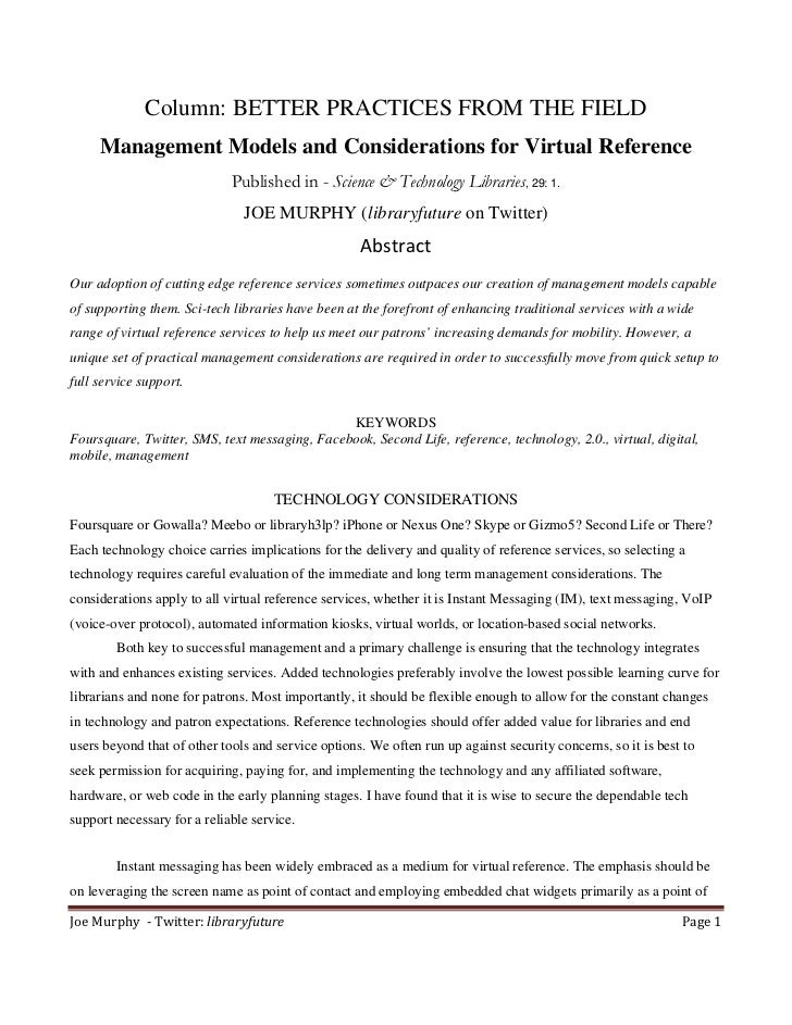 Column: BETTER PRACTICES FROM THE FIELD      Management Models and Considerations for Virtual Reference                   ...