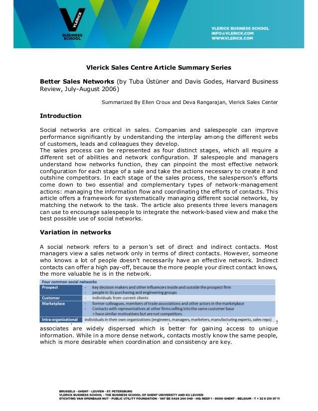 Vlerick Sales Centre Article Summary Series Better Sales Networks (by Tuba Üstüner and Davis Godes, Harvard Business Revie...