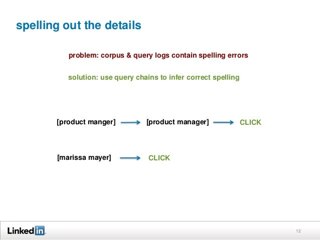 spelling out the details 12 problem: corpus & query logs contain spelling errors solution: use query chains to infer corre...