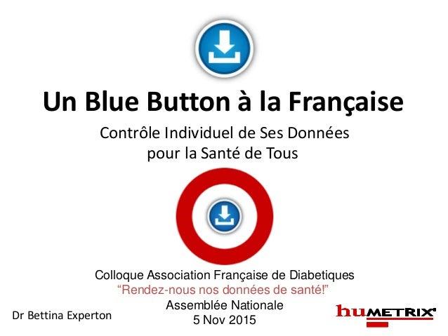 Dr Bettina Experton Contrôle Individuel de Ses Données pour la Santé de Tous Un Blue Button à la Française Colloque Associ...
