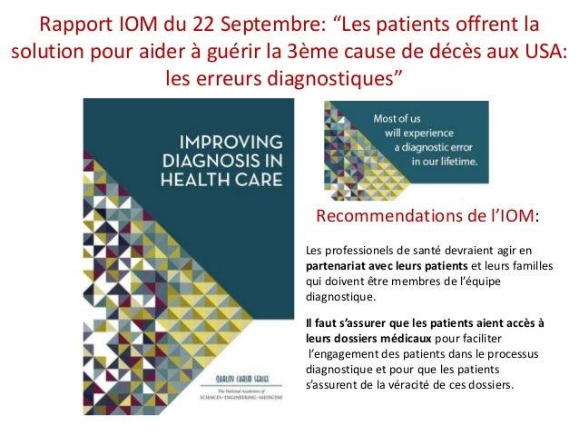 """Rapport IOM du 22 Septembre: """"Les patients offrent la solution pour aider à guérir la 3ème cause de décès aux USA: les err..."""