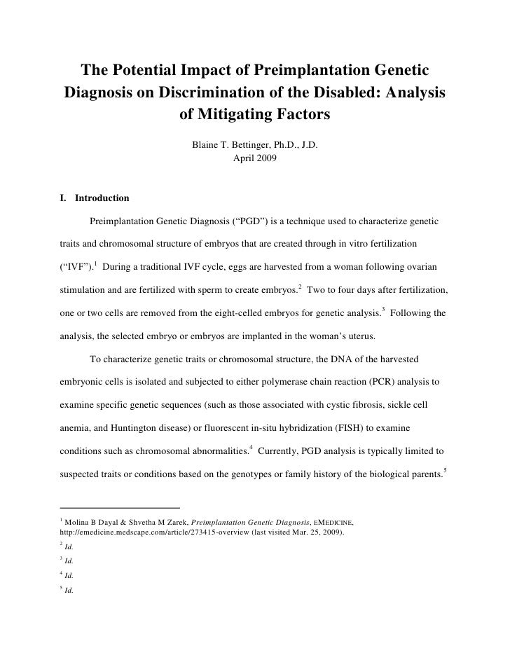 The Potential Impact of Preimplantation Genetic     Diagnosis on Discrimination of the Disabled: Analysis                 ...