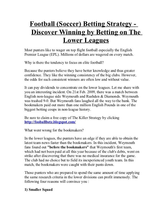Betting on the lower leagues football soccer betting strategy football soccer betting strategy discover winning by betting on the lower leaguesmost punters fandeluxe Gallery