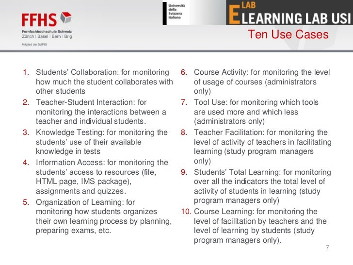 Ten Use Cases1. Students' Collaboration: for monitoring   6. Course Activity: for monitoring the level   how much the stud...