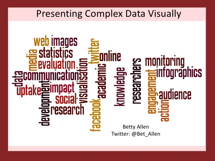 Presenting Complex Data Visually                     Betty Allen                Twitter: @Bet_Allen