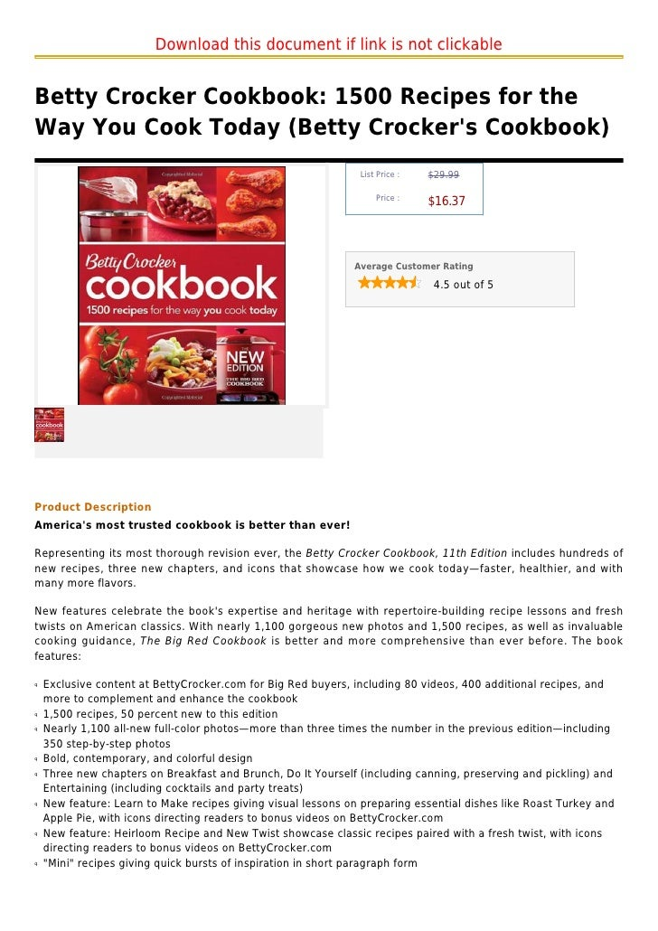 Download this document if link is not clickableBetty Crocker Cookbook: 1500 Recipes for theWay You Cook Today (Betty Crock...