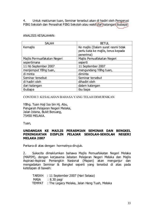 Contoh Surat Rasmi Kepada Ketua Menteri Sabah - Rasmi H