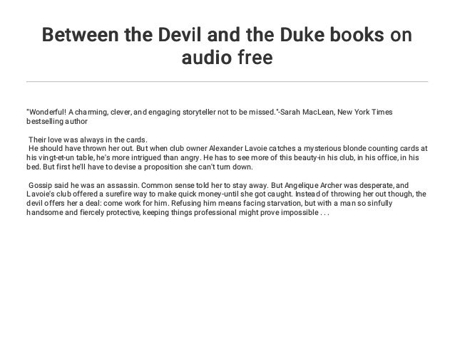 Between The Devil And The Duke Books On Audio Free