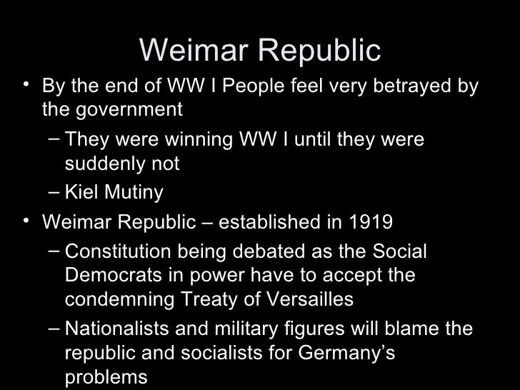 weimar republic in the years 1919 ñ 1923 essay People use the term weimar republic to refer to a period in german history between 1919 and 1933 when the government was a democratic republic governed by a constitution that was laid out in the german city of weimar after germany's loss in ww1.