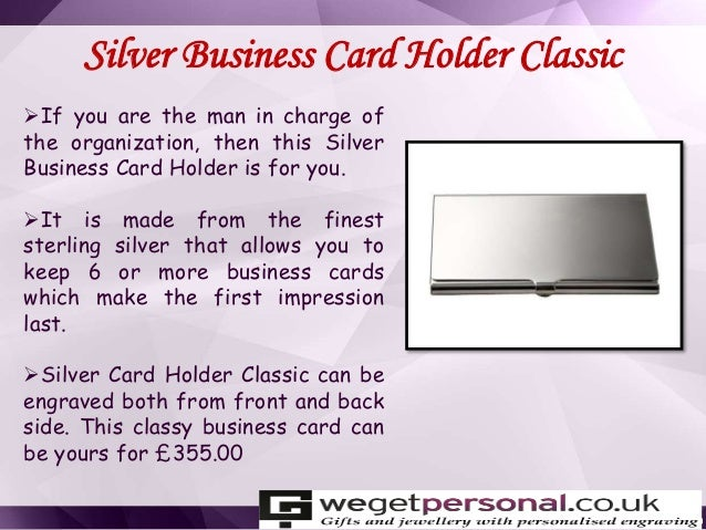Keep your business card at personalised card holder we get personal this classy business card can be yours for 35500 9 colourmoves