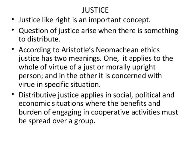 aristotelian ethics distributive justice Chapter three looks at the two proper forms of particular justice—distributive justice and corrective justice—and considers how reciprocity is related to these forms (ne 53–5) chapter four turns to the politics in order to attempt to resolve a problem left open in the discussion of distributive justice in the nicomachean ethics.