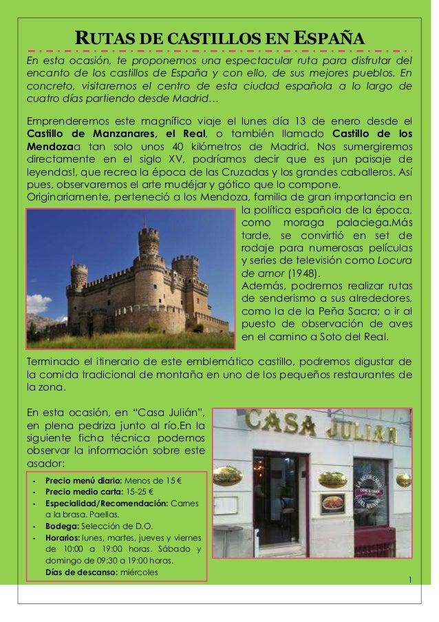 RUTAS DE CASTILLOS EN ESPAÑA En esta ocasión, te proponemos una espectacular ruta para disfrutar del encanto de los castil...