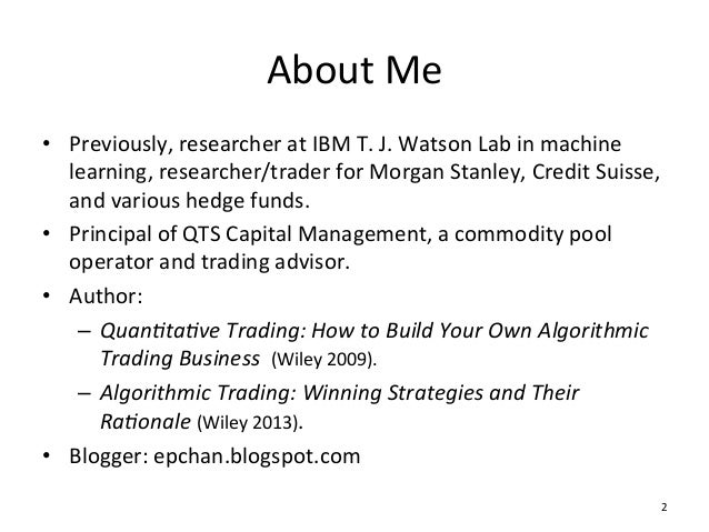 quantitative trading how to build your own algorithmic trading business
