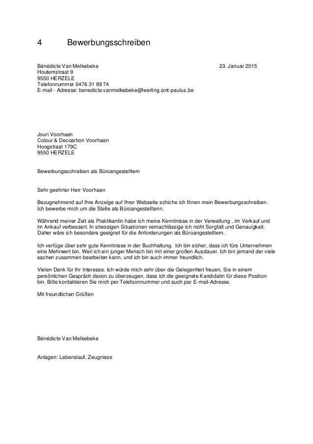 4 bewerbungsschreiben bndicte van melkebeke 23 januar 2015 houtemstraat 9 9550 herzele telefonnummer 0476 31 - Paulus Lebenslauf