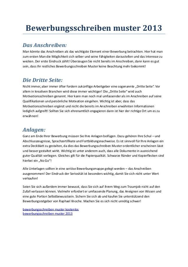 bewerbungsschreiben muster 2013 das anschreiben man knnte das anschreiben als das wichtigste element einer bewerbung - Bewerbung Ende
