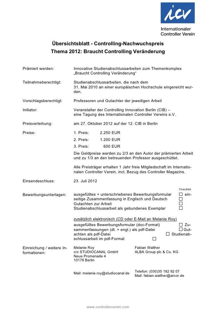 Übersichtsblatt - Controlling-Nachwuchspreis               Thema 2012: Braucht Controlling VeränderungPrämiert werden:    ...