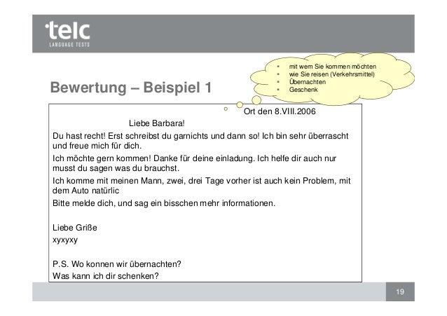 bewertung des schriftlichen ausdrucks: telc deutsch b1 und telc deuts…, Einladungen