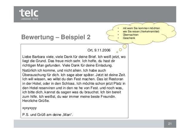 Briefe B2 Beispiel : Bewertung des schriftlichen ausdrucks telc deutsch b und