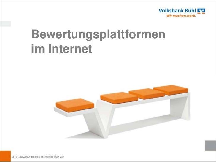 Bewertungsplattformen                  im InternetSeite 1, Bewertungsportale im Internet, Maik Jost