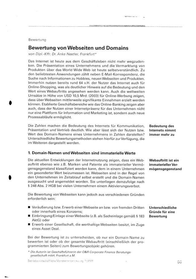 Bewertung von Webseiten und Domains
