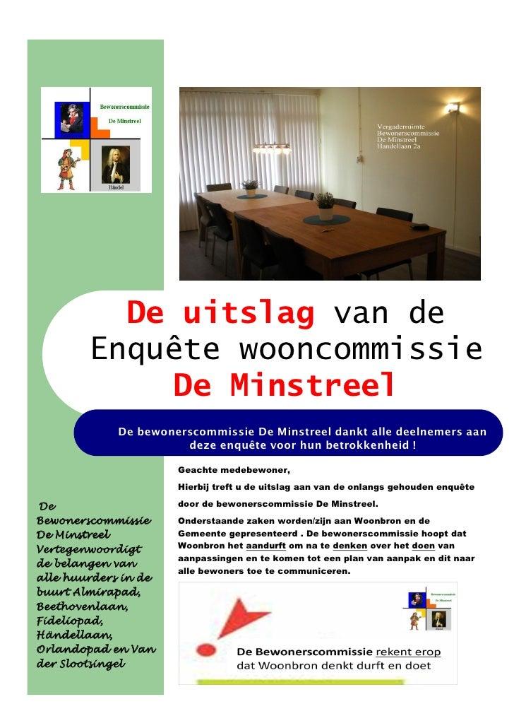 De uitslag van de         Enquête wooncommissie             De Minstreel              De bewonerscommissie De Minstreel da...