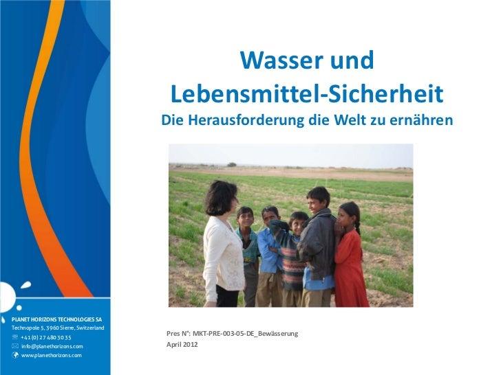 Wasser und                                          Lebensmittel-Sicherheit                                         Die He...